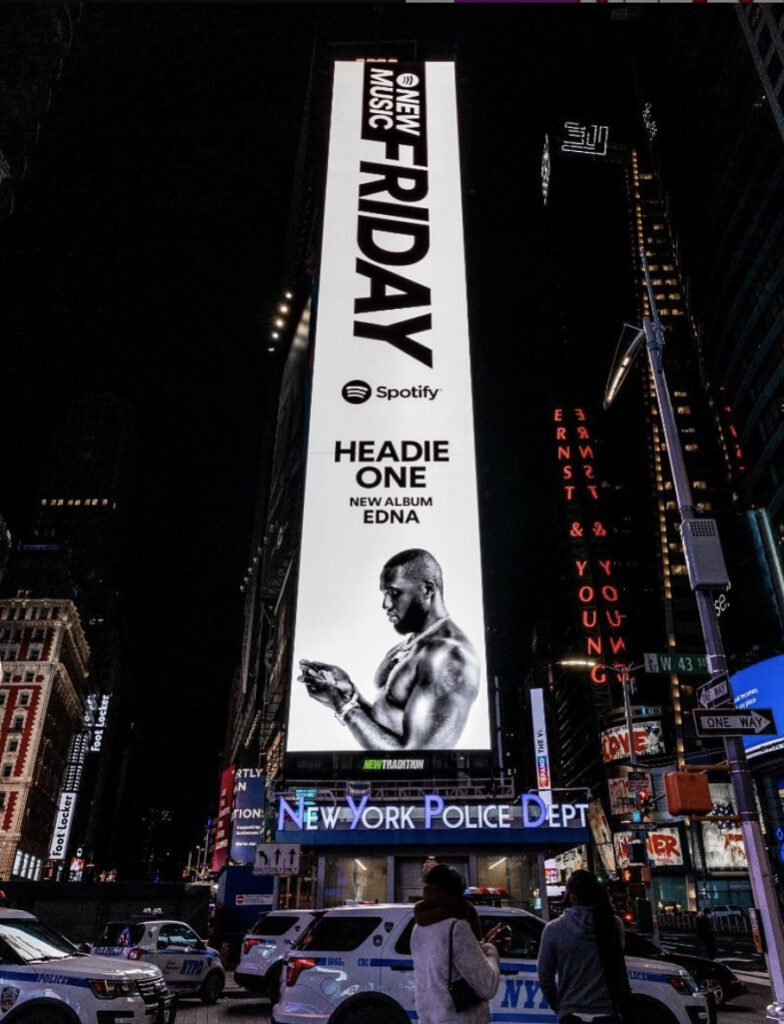Headie One Edna artwork in Times Square, New York