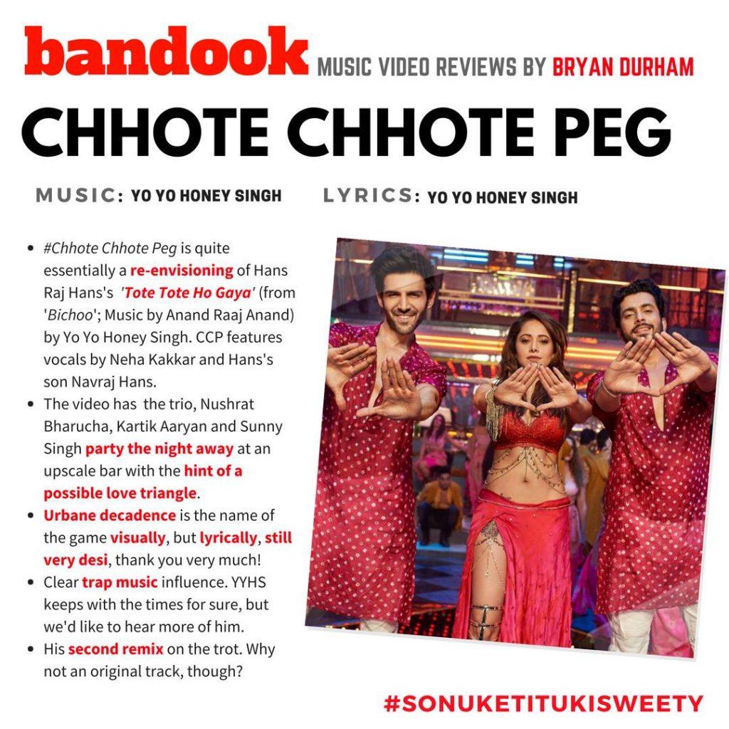 Bandook Music Video Review : 'Chhote Chhote Peg' from 'Sonu Ke Titu Ki Sweety' - Bandook