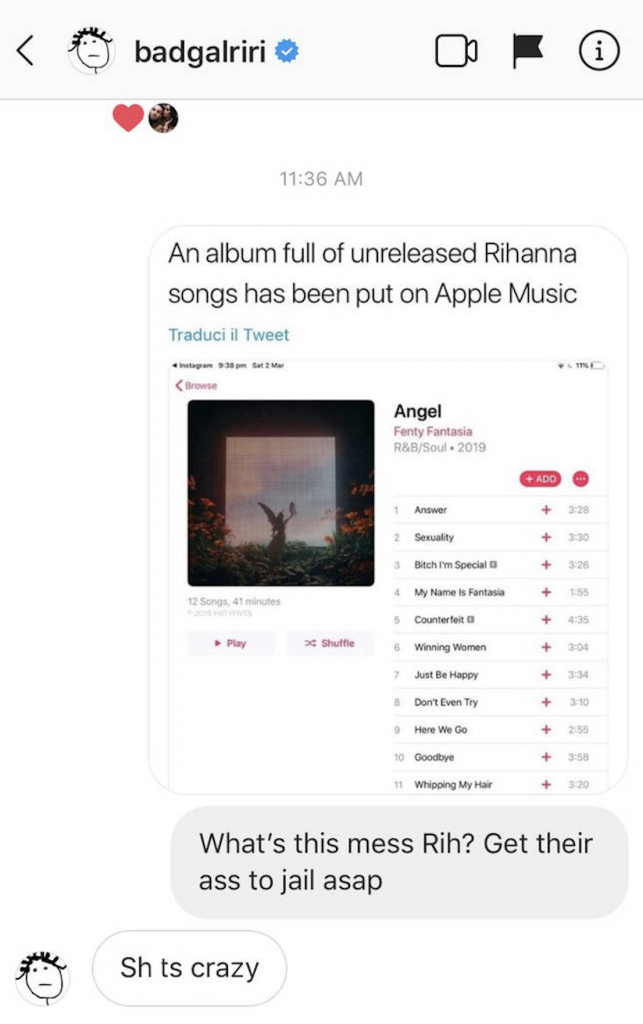 New Rihanna 'album' dropped from Apple Music!