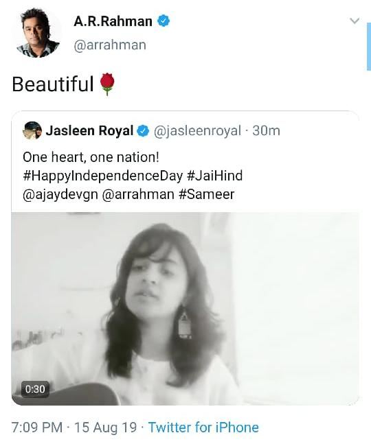 AR Rahman loves Jasleen Royal's take on Des Mere Des