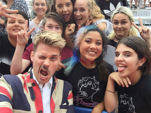 Bielfield poses for a selfie with fans ahead of the 30th Annual ARIA Awards 2016 at The Star on November 23, 2016 in Sydney, Australia.