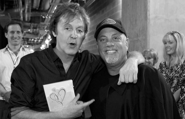 Sir Paul McCartney and Billy Joel backstage at Yankee Stadium on July 16, 2011