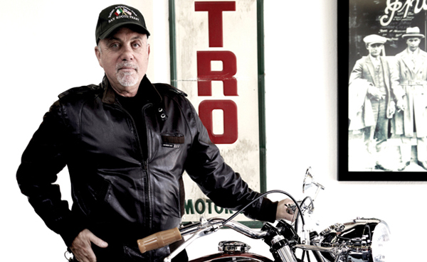 Billy Joel with a custom-built bobber that started out as a 1999 Kawasaki W650
