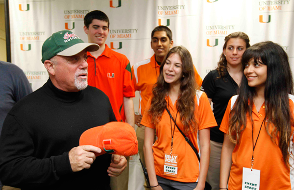 Billy Joel with students at the University of Miami