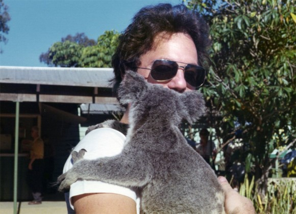 Billy Joel with koala bear on 1976 Australian tour