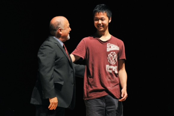 Billy Joel and a student at Frank Sinatra School of the Arts