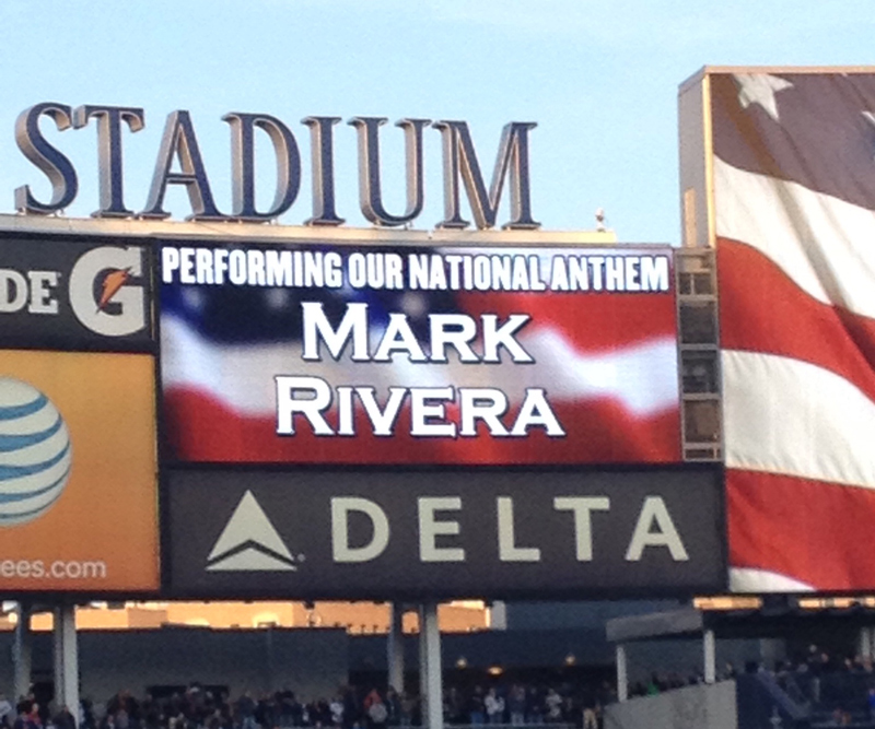 Mark Rivera performs national anthem at Yankee Stadium