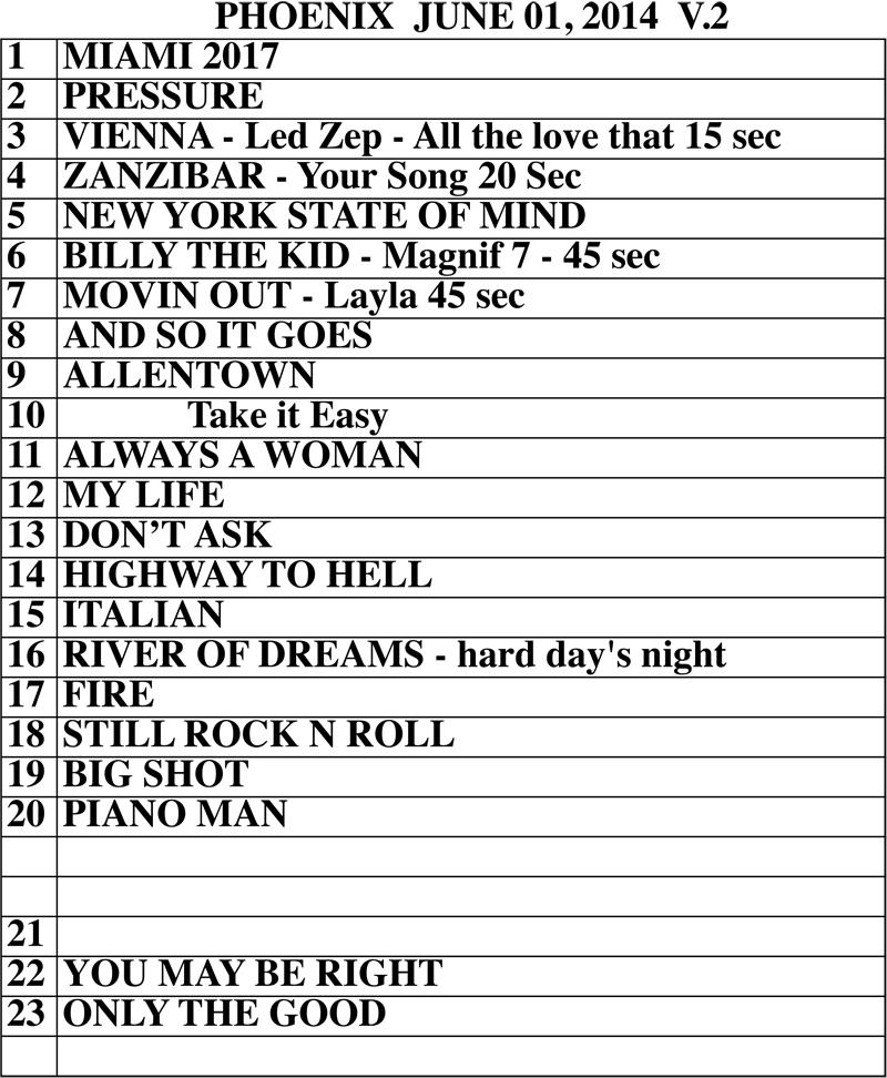Billy Joel at US Airways Center set list June 1, 2014