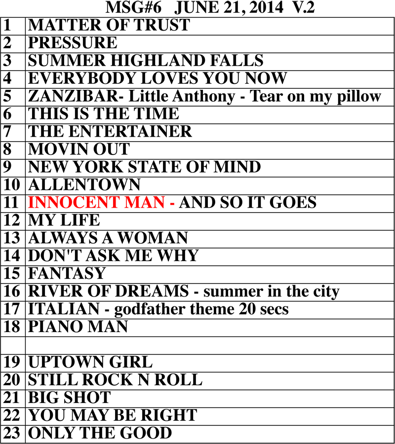 Billy Joel at Madison Square Garden set list June 21, 2014
