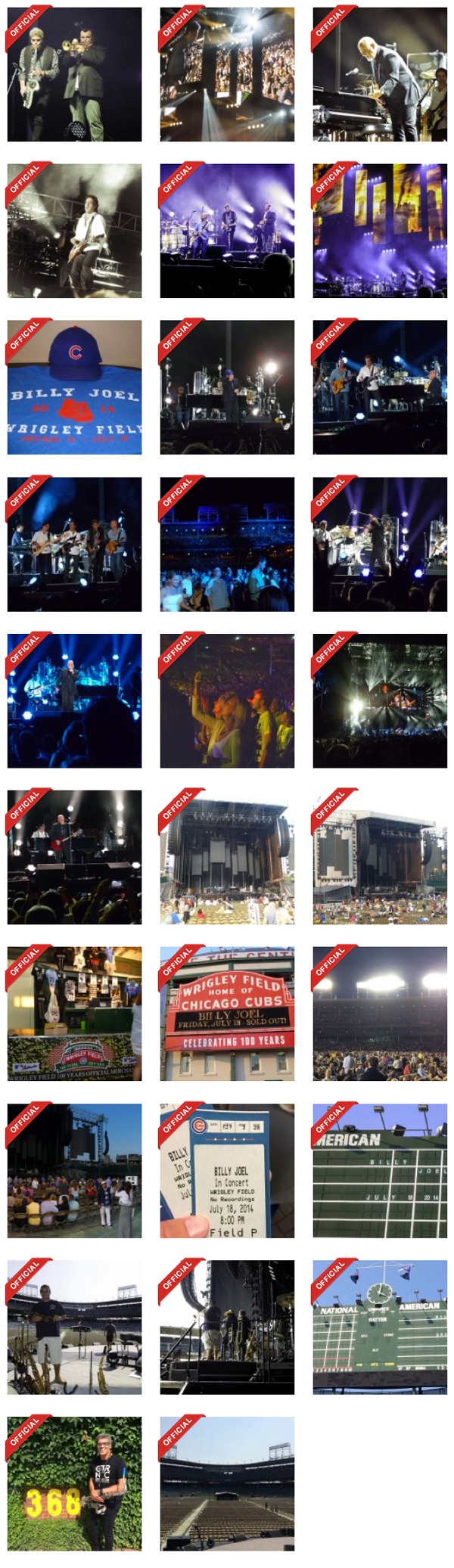 Billy Joel concert photos at Wrigley Field in Chicago, IL, on July 18, 2014