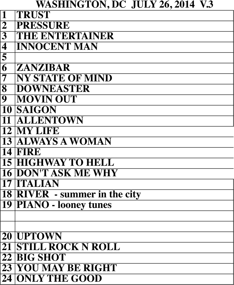 Billy Joel at Nationals Park set list July 26, 2014