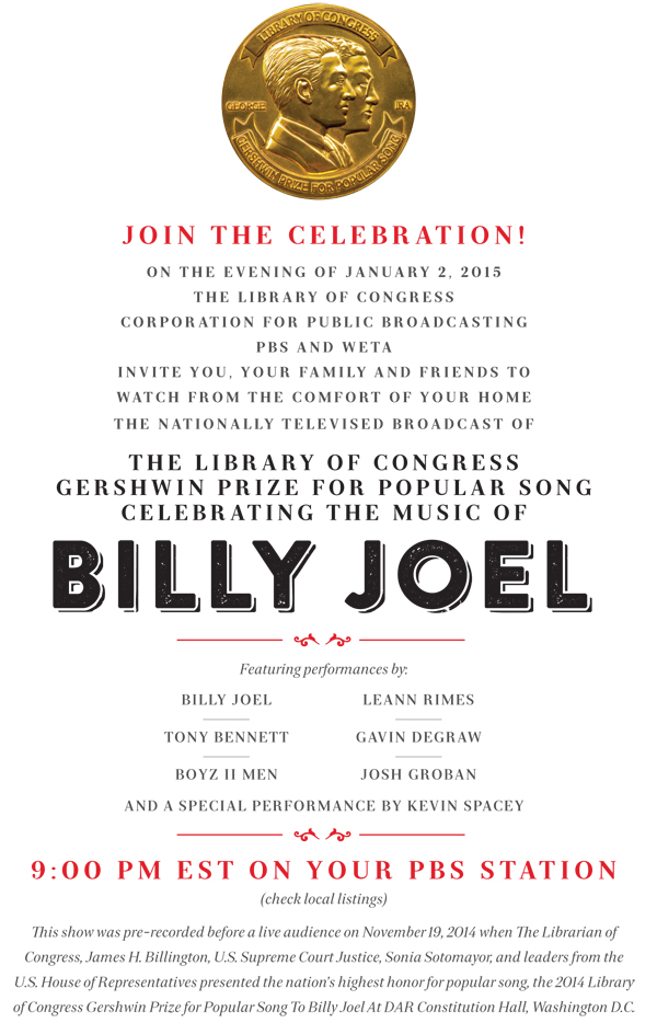 Billy Joel 2014 Library of Congress Gershwin Prize for Popular Song broadcast promotion