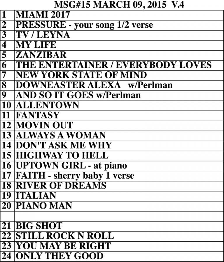 Set list from Billy Joel Madison Square Garden New York, NY concert March 9, 2015