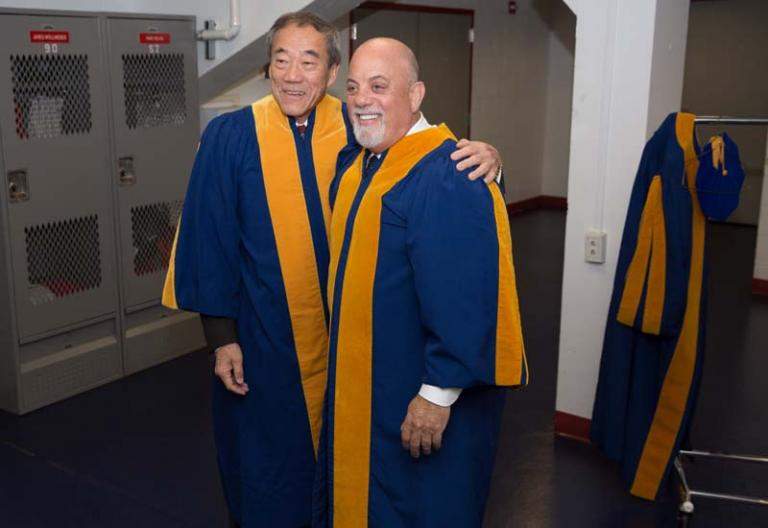 Billy Joel and Charles Wang before the commencement ceremony at Stony Brook University May 22, 2015