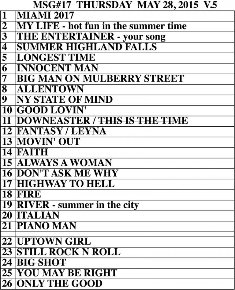 Set list from Billy Joel Madison Square Garden New York, NY concert May 28, 2015