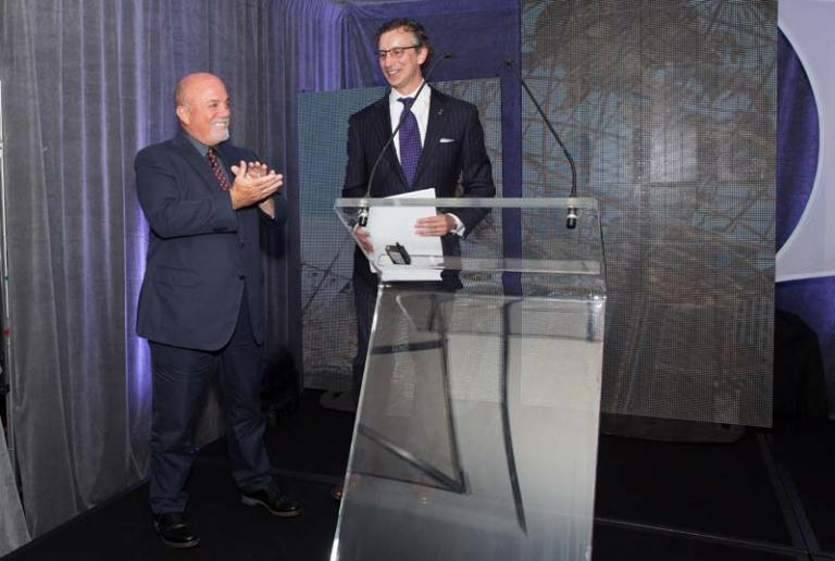 Billy Joel, David Israelite at National Music Publishers' Association annual meeting at Marriott Marquis in New York, NY, on June 17, 2015