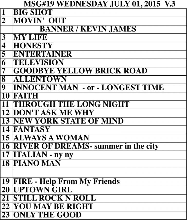 Set list from Billy Joel Madison Square Garden New York, NY concert July 1, 2015