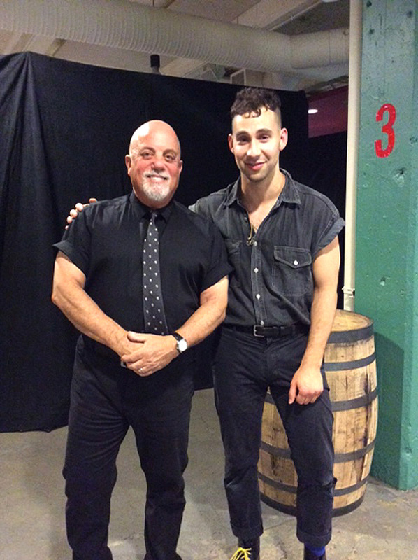 Billy Joel and the Bleachers' frontman Jack Antonoff backstage at Fenway Park in Boston, MA, on July 16, 2015
