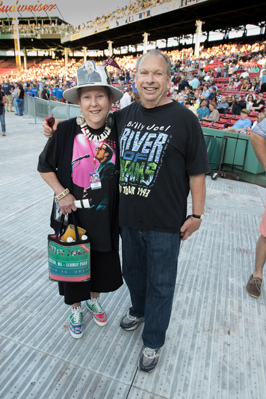 Billy Joel fans at Fenway Park in Boston, MA, on July 16, 2015