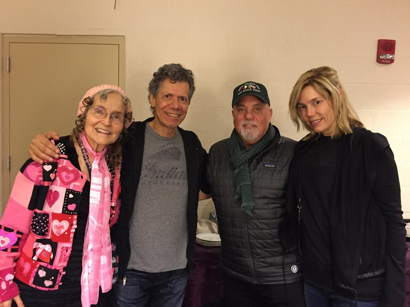 Gayle Moran Corea, Chick Corea, Billy Joel, Alexis Joel backstage Madison Square Garden November 19, 2015