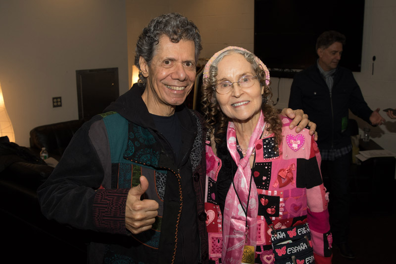 Chick Corea and wife Gayle Moran Corea backstage Madison Square Garden for Billy Joel November 19, 2015.