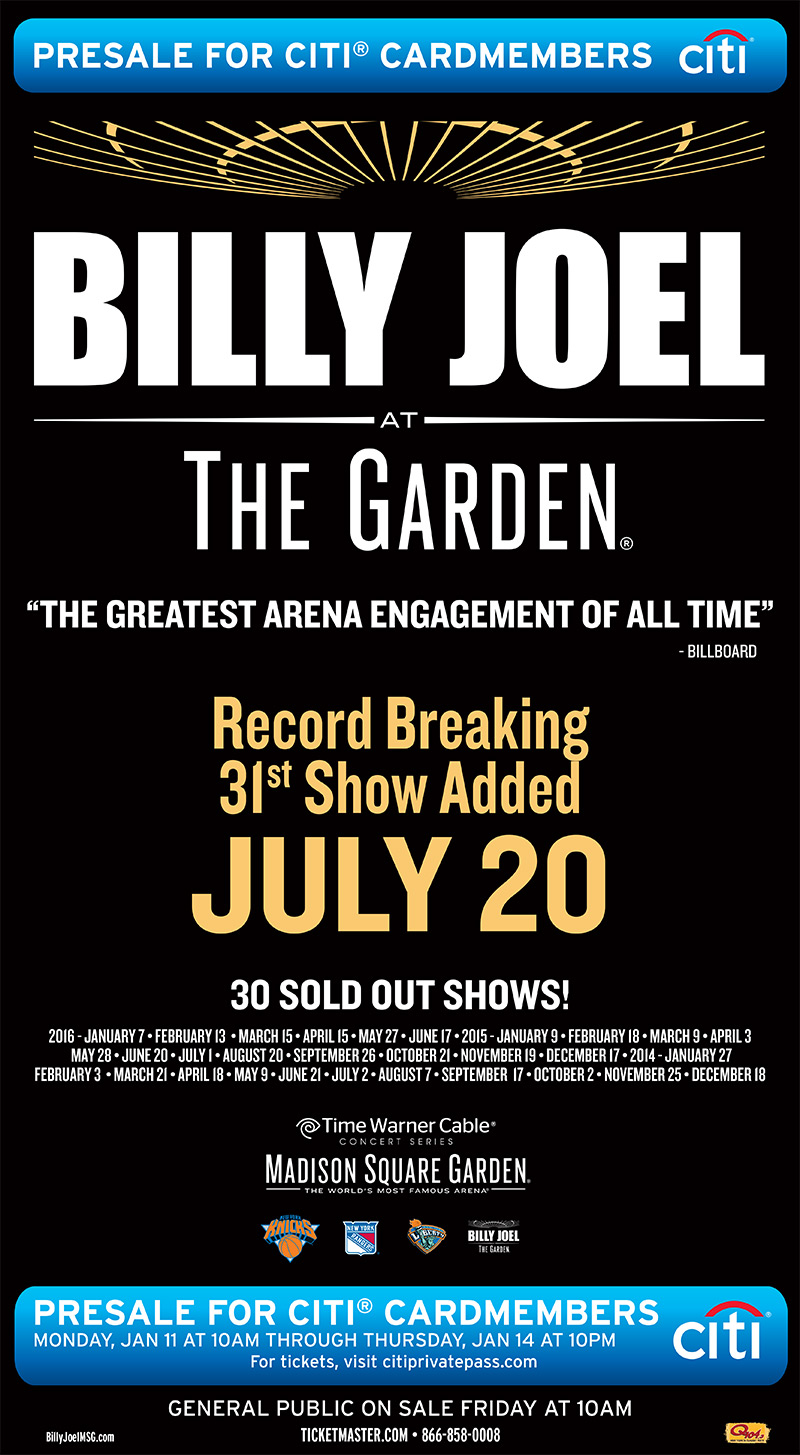 Billy Joel New York Times ad for July 20, 2016 Madison Square Garden concert