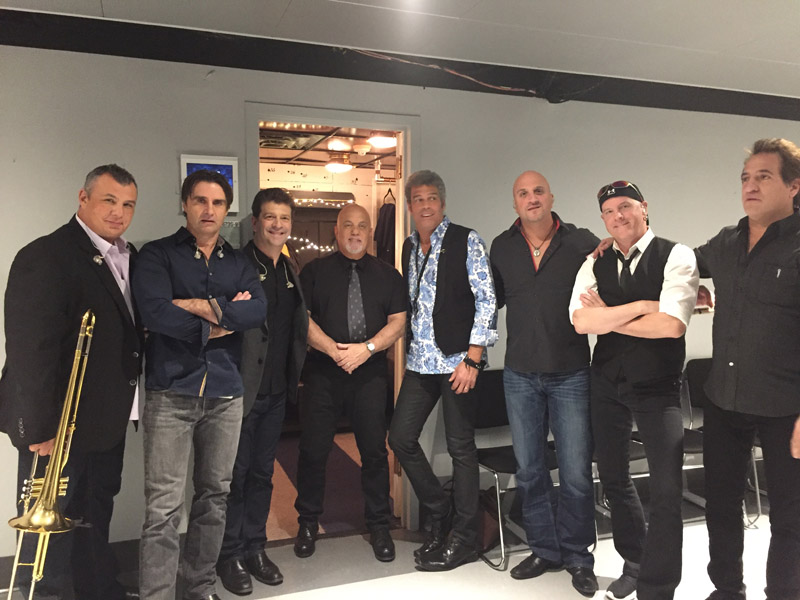 Billy Joel Tonight Show backstage with Carl Fischer, Andy Cichon, Dave Rosenthal, Mark Rivera, Mike DelGuidice, Chuck Burgi and Tommy Byrnes
