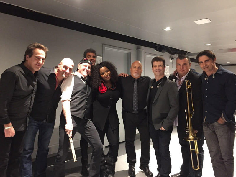 Billy Joel Tonight Show backstage with Tommy Byrnes, Mike DelGuidice, Chuck Burgi, Mark Rivera, Crystal Taliefero, Dave Rosenthal, Carl Fischer and Andy Cichon