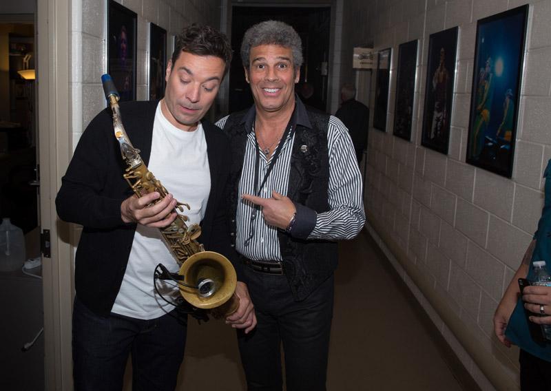 Jimmy Fallon and Mark Rivera backstage Madison Square Garden in New York, NY January 7, 2016