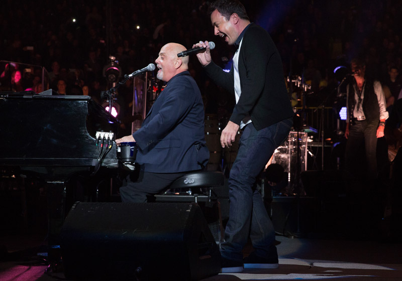Billy Joel and Jimmy Fallon perform during encore at Madison Square Garden January 7, 2016