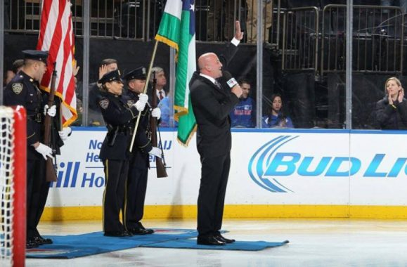 Mike DelGuidice Sings National Anthem At MSG Rangers Game