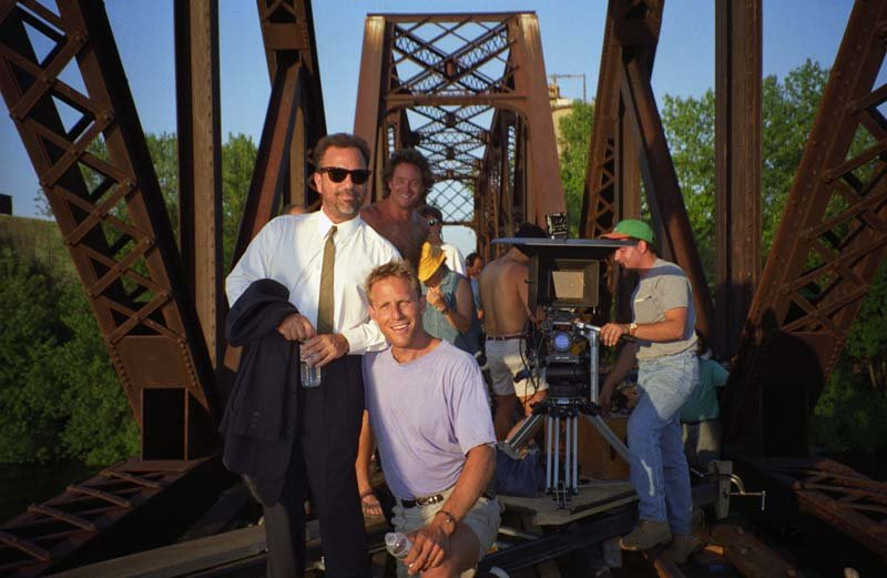 Billy Joel With Cinematographer Joseph Yacoe On The Set Of 'The River Of Dreams' Music Video