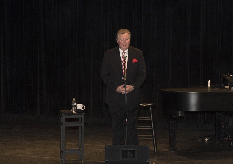 Nassau BOCES District Superintendent Dr. Robert R. Dillon introduces Regent Roger Tilles at LIU Post Hillwood Recital Hall in Brookville, NY, on February 8, 2016