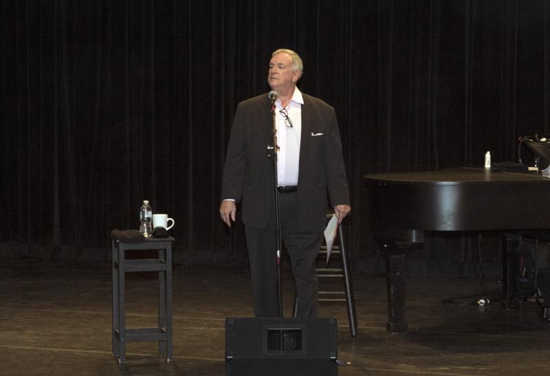 Regent Roger Tilles introduces Billy Joel at LIU Post Hillwood Recital Hall in Brookville, NY, on February 8, 2016