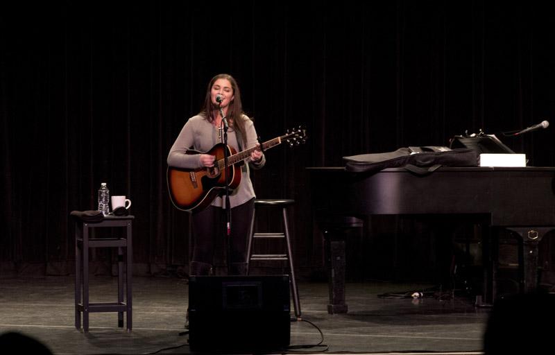 Jillian Rossi, Music student, Bellmore-Merrick CHSD, sings one of her songs at LIU Post