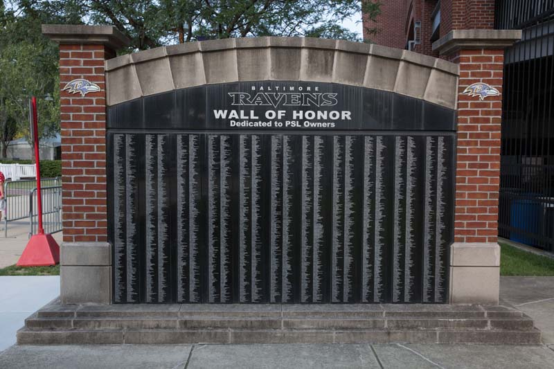 Wall of Honor View M&T Bank Stadium, Baltimore 072515