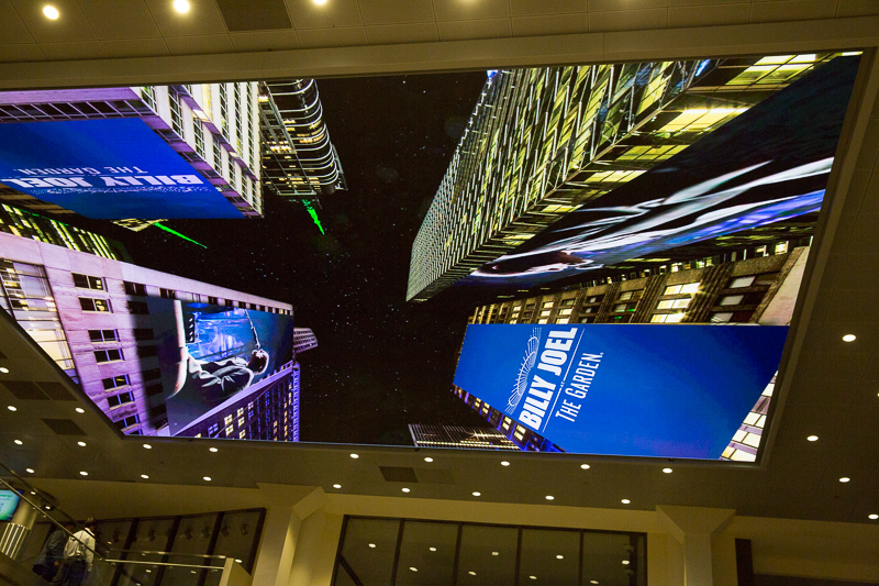 Video on the ceiling on MSG Lobby 082015