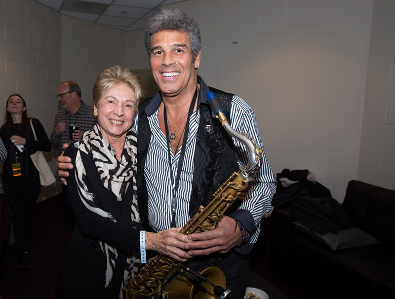 Harriette Delsener and Mark Rivera backstage at MSG, January 7th, 2016