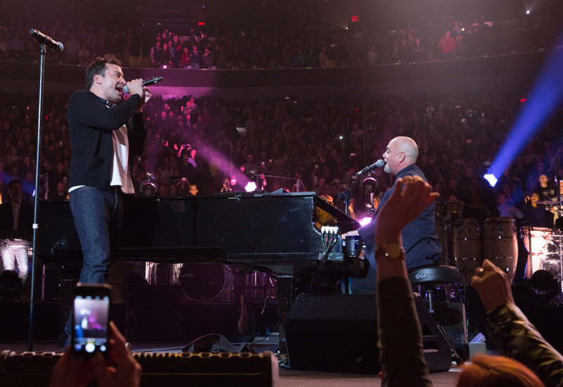 Jimmy Falllon on stage with Billy Joel at MSG, January 7th, 2016