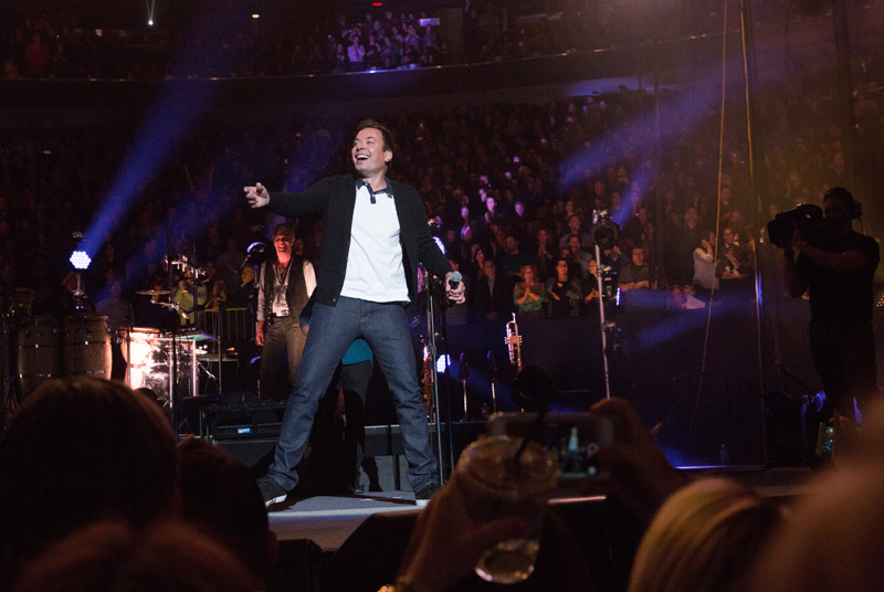 Jimmy Fallon on stage with Billy Joel at MSG, January 7th, 2016
