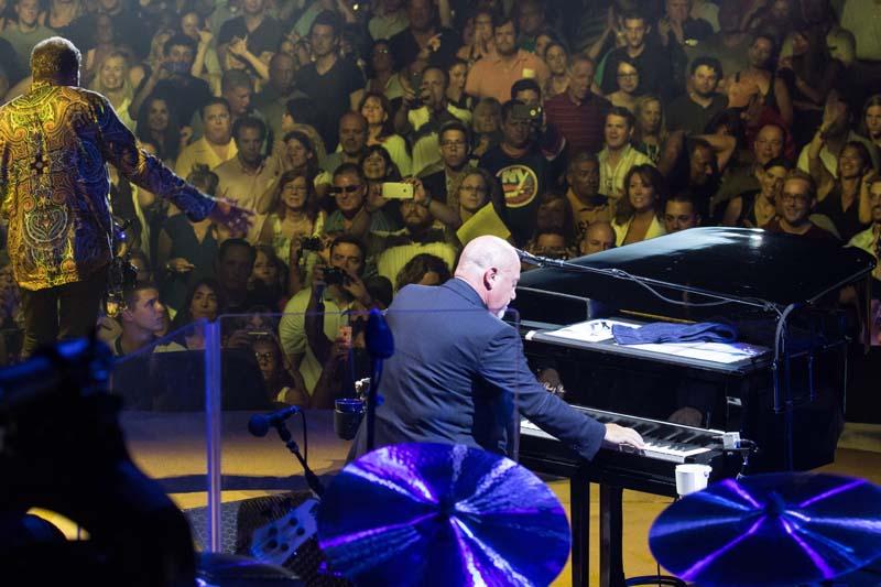 Billy Joel on stage at Nassau Coliseum 080415