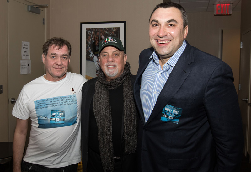 Viktor Razinov Billy joel and Andrew backstage at Billy Joel MSG 102115