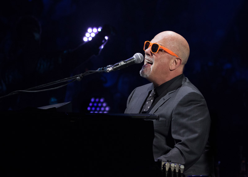 Billy Joel Live with Orange Glasses given to him by a Met fan MSG 102115