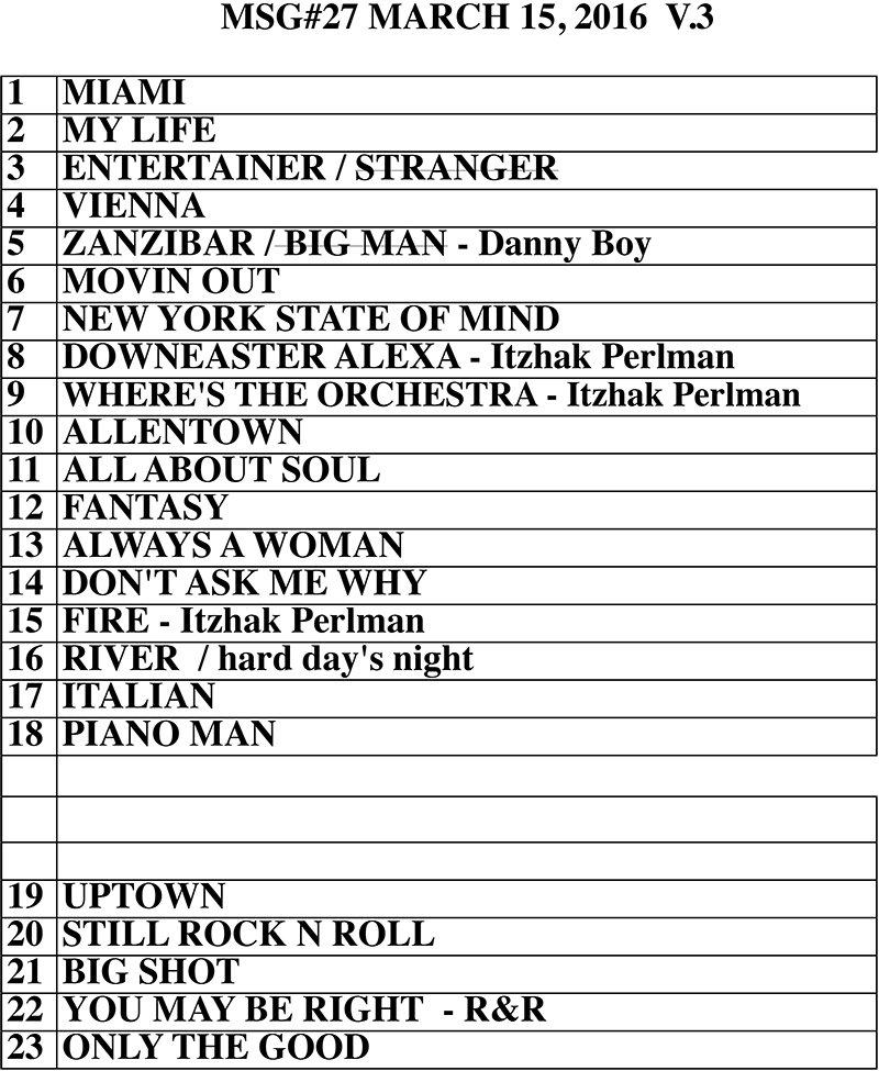 Billy joel joined by itzhak perlman at msg show march 15 Billy joel madison square garden setlist