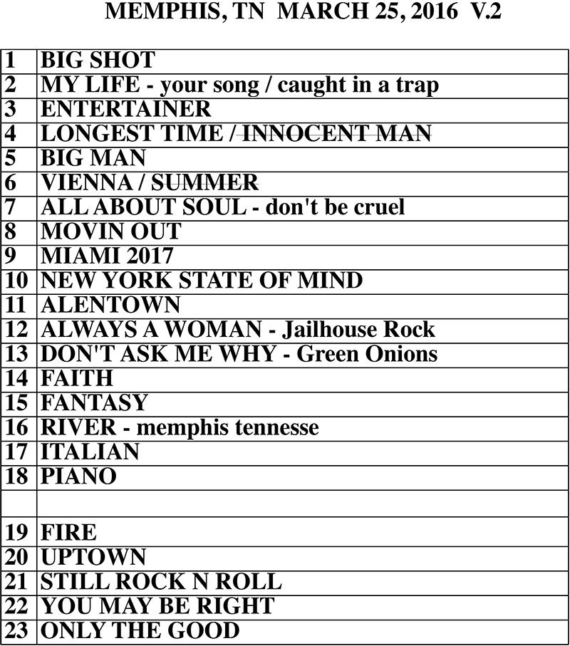 Billy Joel set list FedExForum Memphis, TN, March 25, 2016