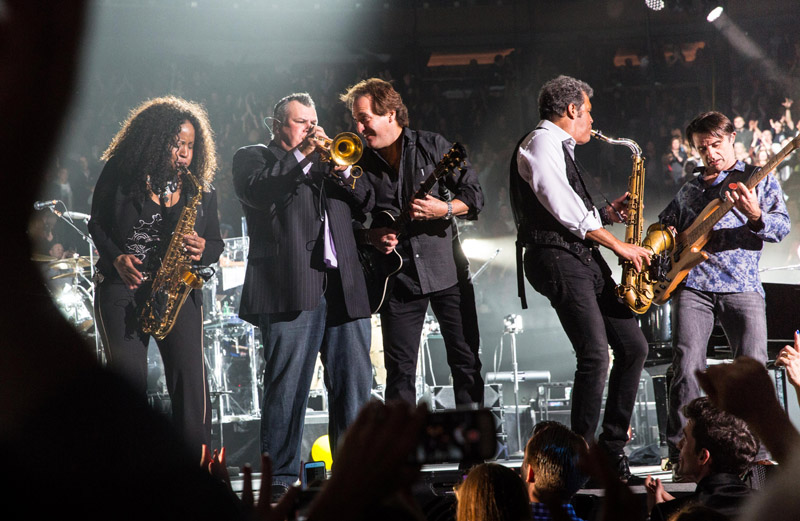 Crystal Taliefero, Carl Fischer, Tommy Byrnes, Mark Rivera and Andy Cichon during Billy Joel's concert at Madison Square Garden in New York, NY March 15, 2016.