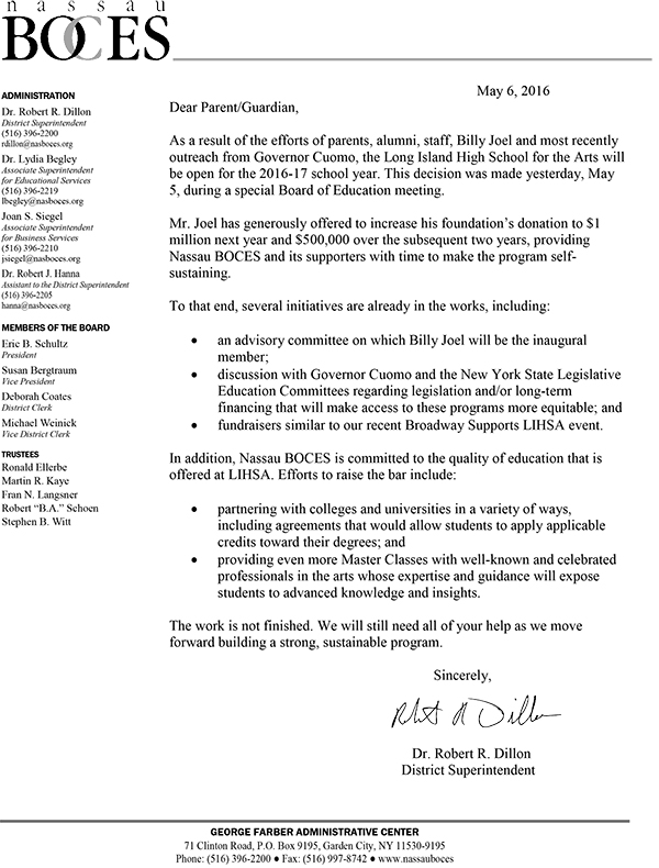 Long Island High School for the Arts letter