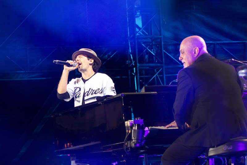 Jason Mraz and Billy Joel perform live on stage at Petco Park in San Diego, CA, on May 14, 2016.