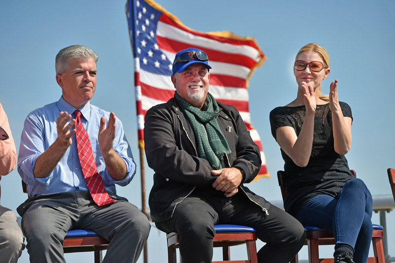 June 27, 2016--Long Island-- Billy Joel is with Suffolk County Executive Steve Bellone and Sandra Lee at Governor Cuomo's Breast Cancer Motorcycle Ride kick-off at Sunken Meadow State Park. (Office of the Governor/Kevin P. Coughlin)