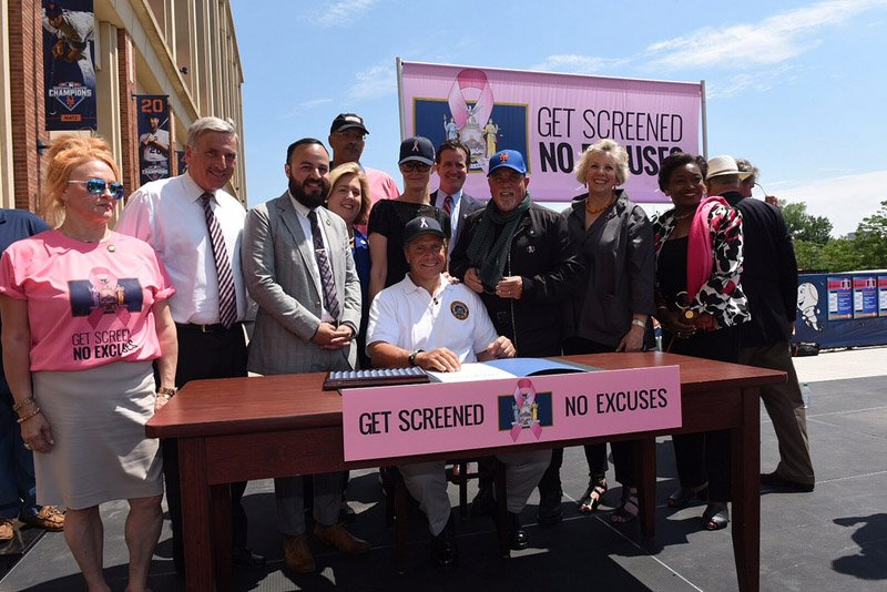 June 27, 2016 - Queens - Billy Joel joins Governor Cuomo and Sandra Lee at the bill signing of breast cancer legislation at Citi Field, as part of the inaugural breast cancer motorcycle ride. (Office of the Governor/Don Pollard)